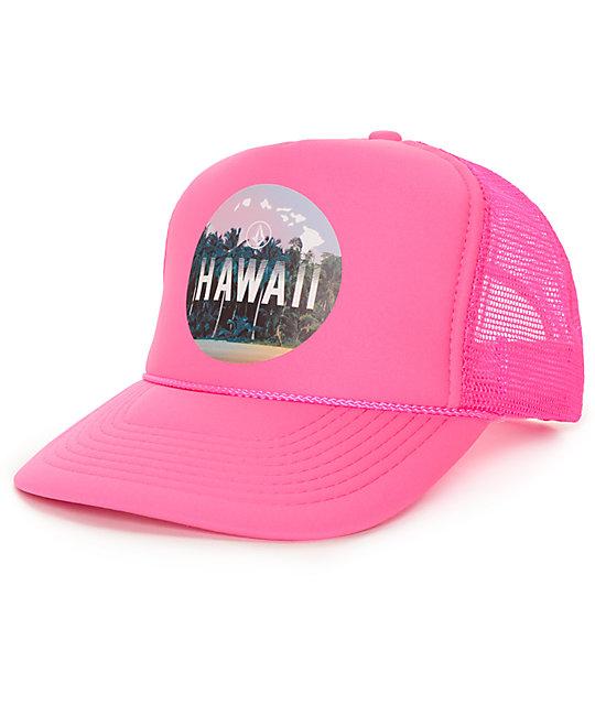 Volcom Hawaii Tropical Neon Pink Trucker Hat  0a472bd2e03