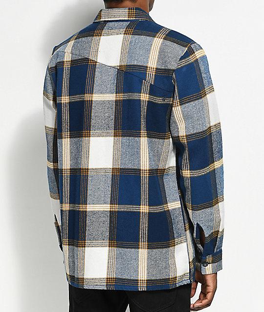 Volcom heavy daze navy yellow flannel shirt zumiez for Heavy plaid flannel shirt