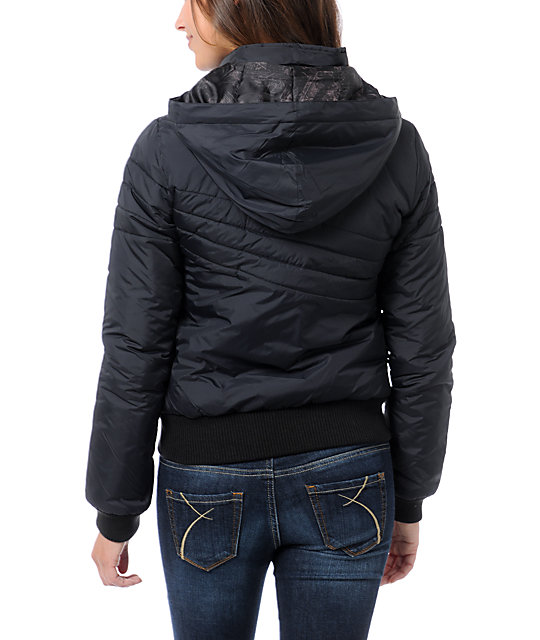 Volcom Hot Mitts Black Puffer Bomber Jacket
