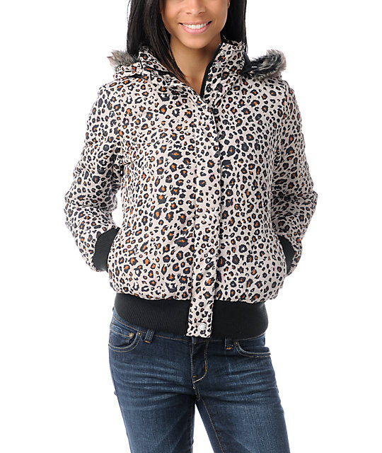 Volcom Hot Mitts Leopard Print Puffer Bomber Jacket