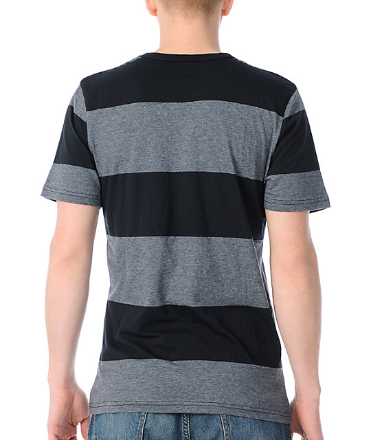 Volcom Innercirle Black & Charcoal Striped Knit T-Shirt
