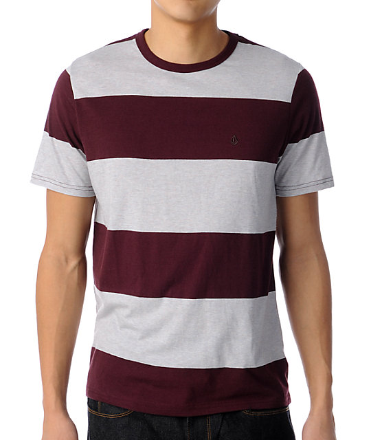 Volcom Innercirle Wine & Heather Grey Striped Knit T-Shirt