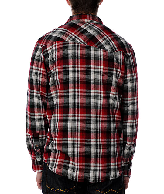 Volcom Invade Red Flannel Shirt