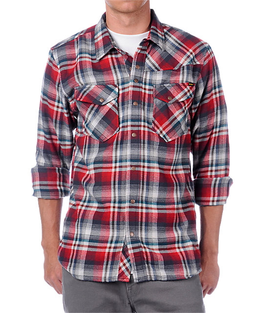 Volcom Invade Red Long Sleeve Flannel Shirt