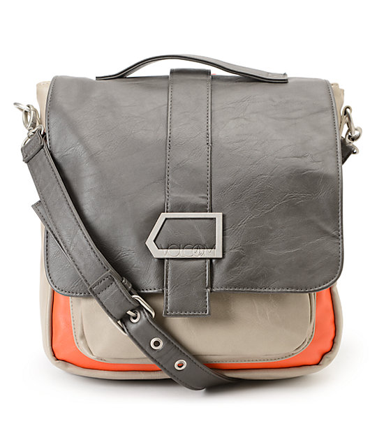 Volcom Manix Grey & Orange Colorblock Cross Body Purse