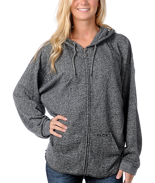 Volcom Marley Slacker Heather Grey Zip Up Hoodie