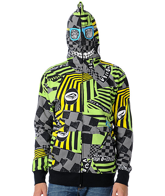 Volcom Mens Peepers Black Full Zip Face Mask Hoodie