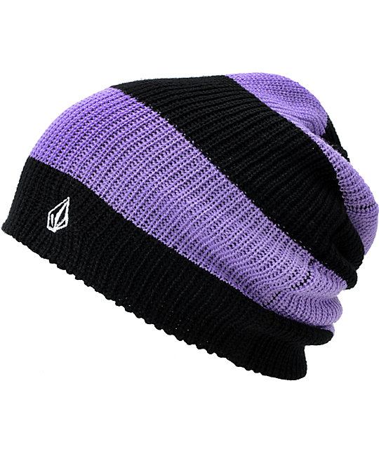 Volcom More Black & Purple Stripe Beanie