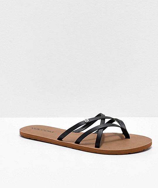 a52af07cc Volcom New School Black Strappy Sandals