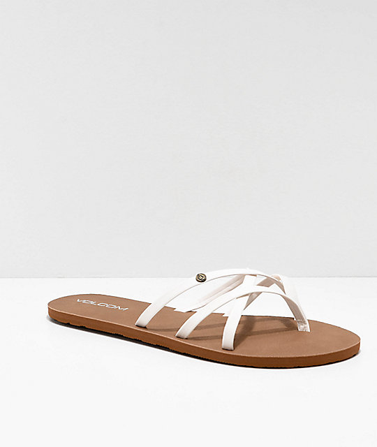 976bc6017b36ba Volcom New School White Strappy Sandals