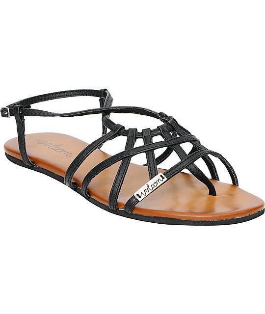 Volcom No Sweat Matte Black Creedler Sandals ...