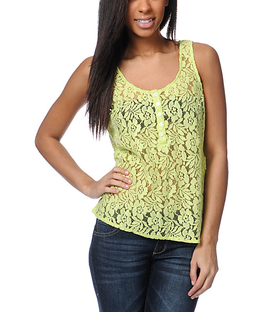 Volcom Not So Classic Neon Green Lace Tank Top