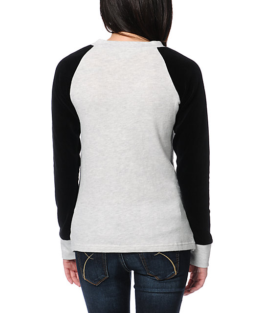 Volcom Notafaze Heather Grey & Black Velour Crew Neck Top