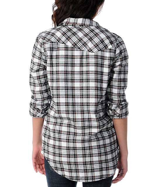 Volcom Nova Cane White Plaid Long Sleeve Button Up