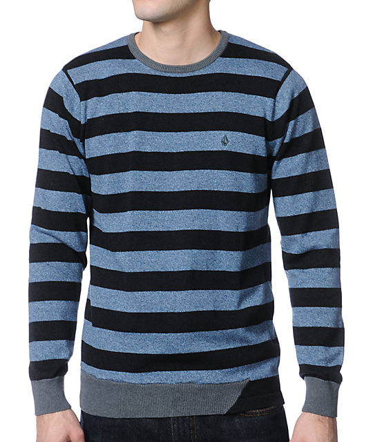 Volcom Othercircle Blue & Charcoal Crewneck Sweater