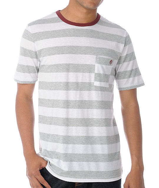 Volcom Othercircle White & Grey Stripe Tri-Blend T-Shirt
