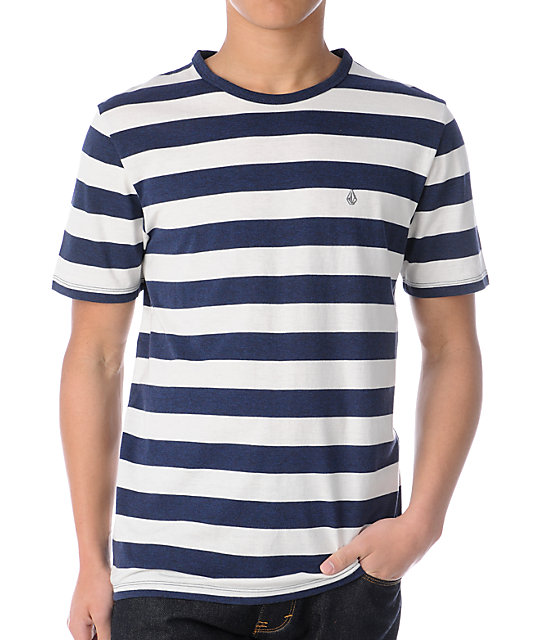 Volcom Outercircle Navy Blue Stripe Tri-Blend T-Shirt