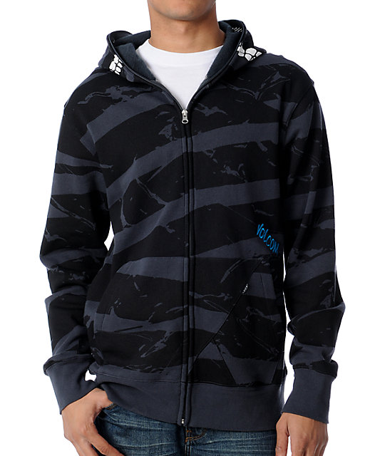Volcom Peepers Charcoal & Black Full Zip Face Mask Hoodie