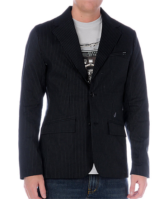 Volcom Pinstripe Black Stretch Blazer Jacket