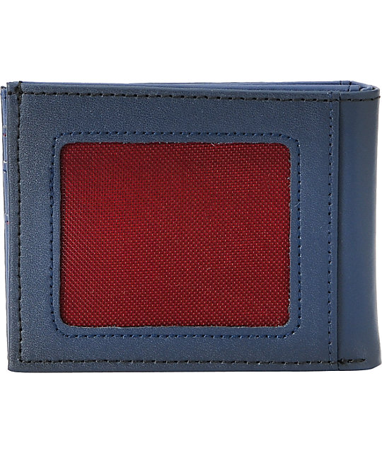 Volcom Pistol Navy Blue Leather Bifold Wallet