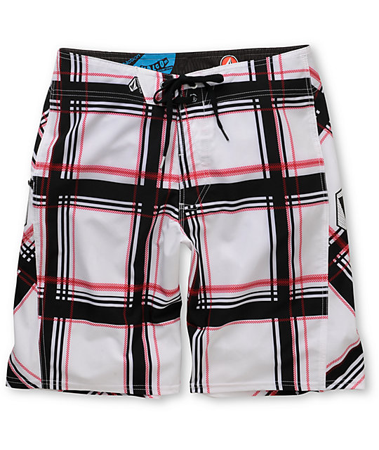 Volcom Plaiter White Plaid 21 Board Shorts