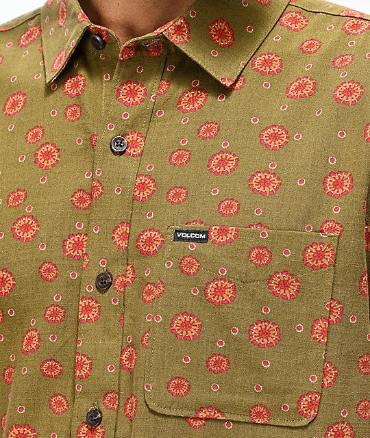 Volcom Little Boys Psych Dot Short Sleeve Button Up Shirt