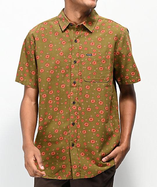 aa328ce2 Volcom Psych Dot Army Green Short Sleeve Button Up Shirt | Zumiez