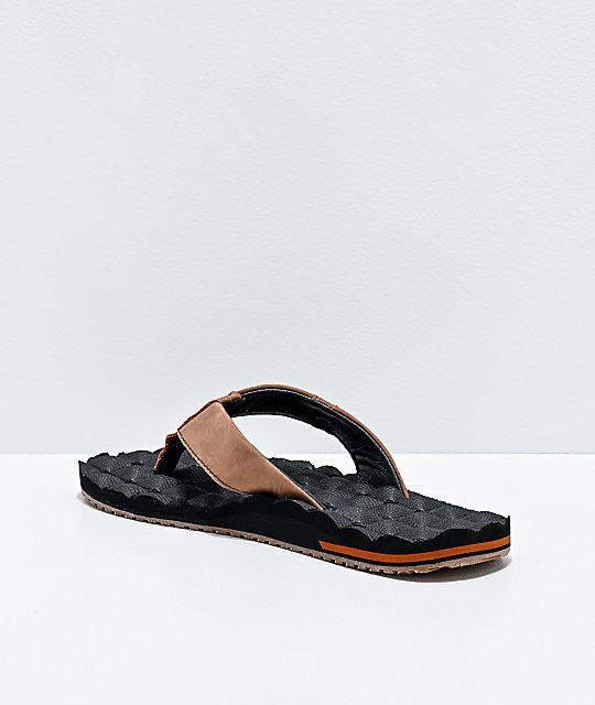 Volcom Recliner Black & Brown Leather Sandals
