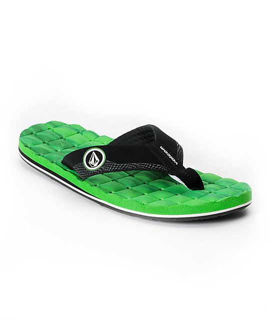 Volcom Recliner Black & Green Sandals