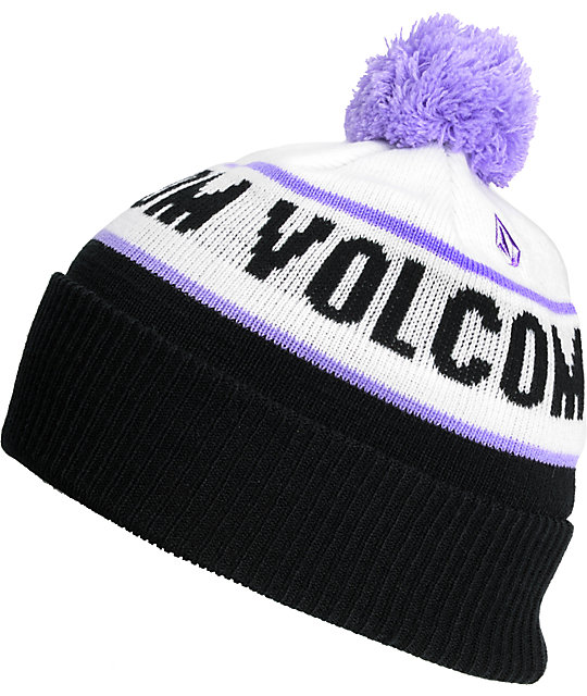 Volcom Replica Black & Purple Pom Beanie