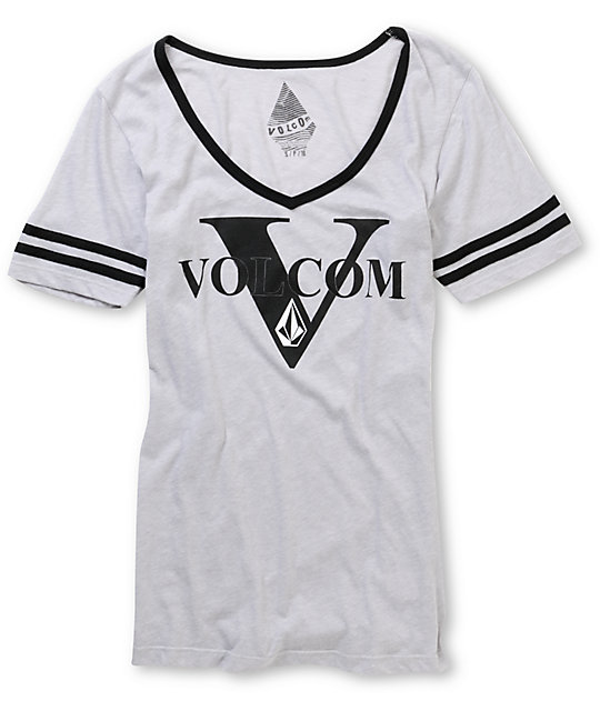 Volcom Script Grey V-Neck Football T-Shirt