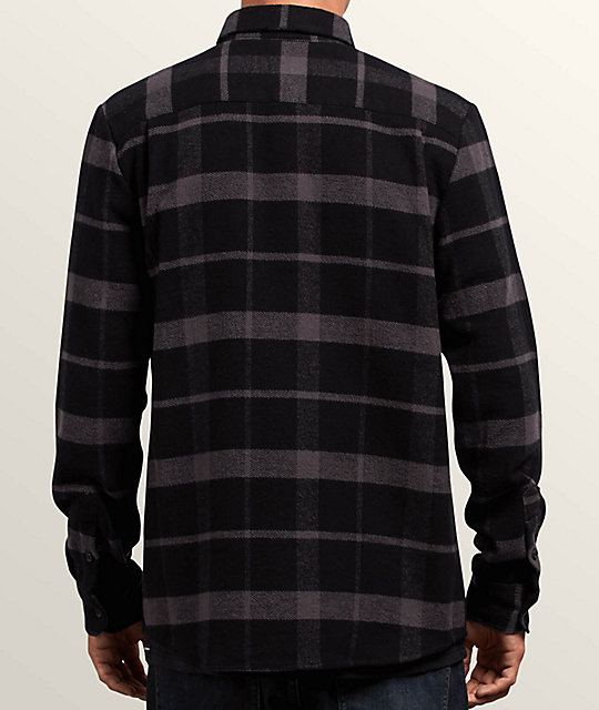 Volcom Shader Black & Grey Flannel Shirt