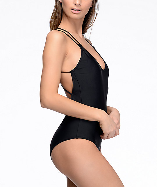 169f2231b8093 ... Volcom Simply Solid Black One Piece Swimsuit ...