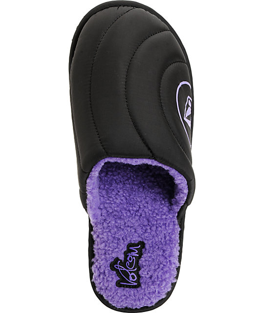 Volcom Slacker Black & Purple Slippers