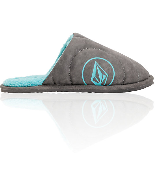 Volcom Slacker Grey & Teal Slippers