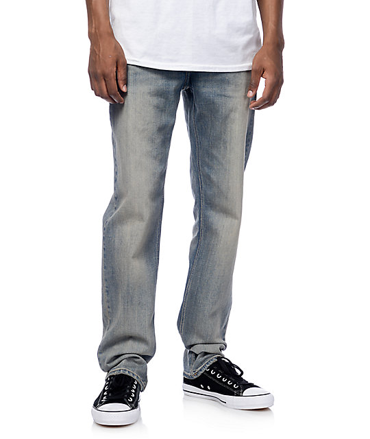 Volcom Solver Heavy Worn Faded Modern Fit Jeans