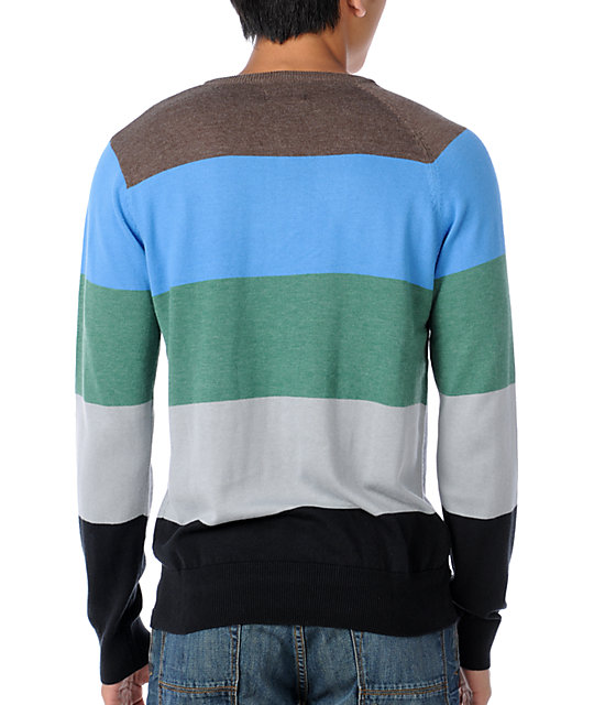 Volcom Standard Stripe Green V-Neck Sweater