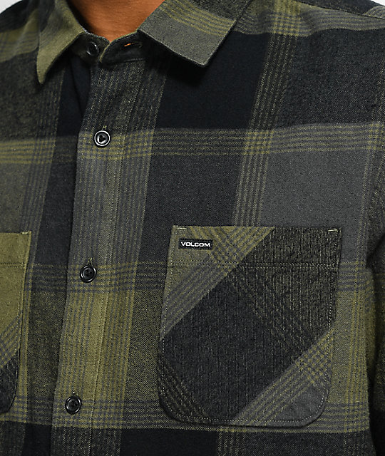 Volcom Stradland Military Green Flannel Shirt