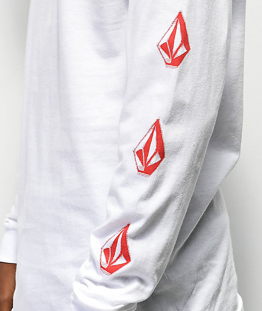 Volcom Stranger White & Red Long Sleeve T-Shirt