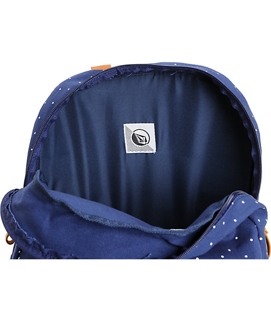 d21d0a693654 ... Volcom Supply And Demand Navy Polka Dot Backpack ...