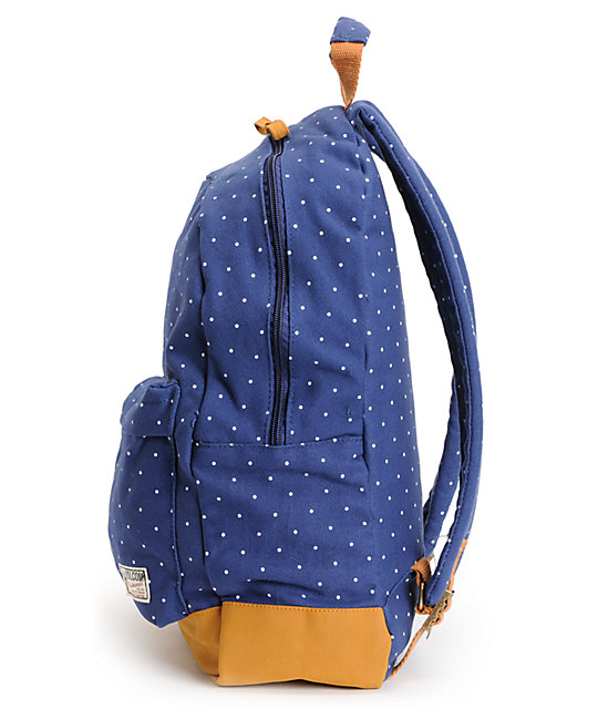 ce69e38ee60b ... Volcom Supply And Demand Navy Polka Dot Backpack