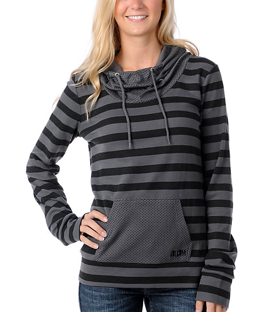 Volcom This Or That Charcoal Stripe Dot Hoodie