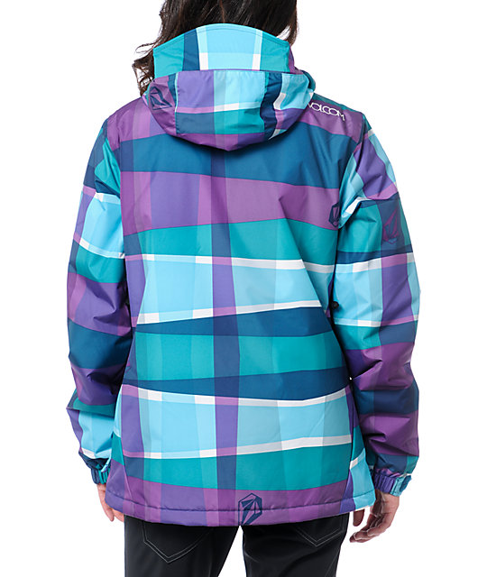 Volcom Threat 5k Blue & Purple Stripe Snowboard Jacket
