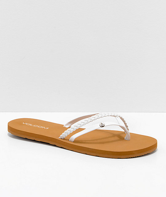 dc7f694e8 Volcom Thrills White   Khaki Thong Sandals