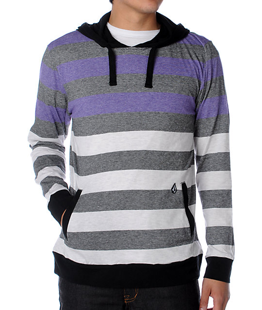 Volcom Tres Stripe Black Hooded Knit