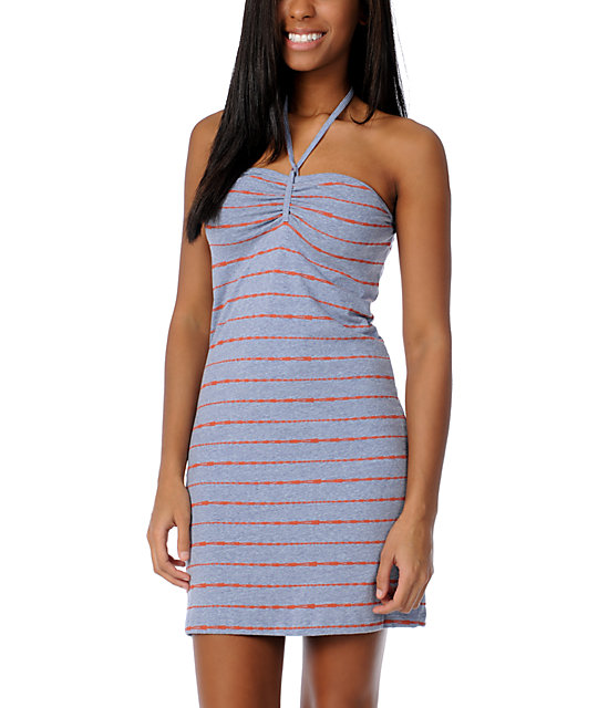 Volcom V.Co Lives Grey Stripe Tube Dress