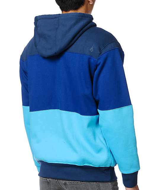 Volcom V4S Blue Striped Sherpa Zip Up Hoodie