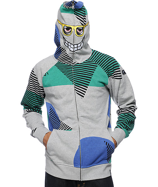 Volcom Vacation Grey Full Zip Face Mask Hoodie