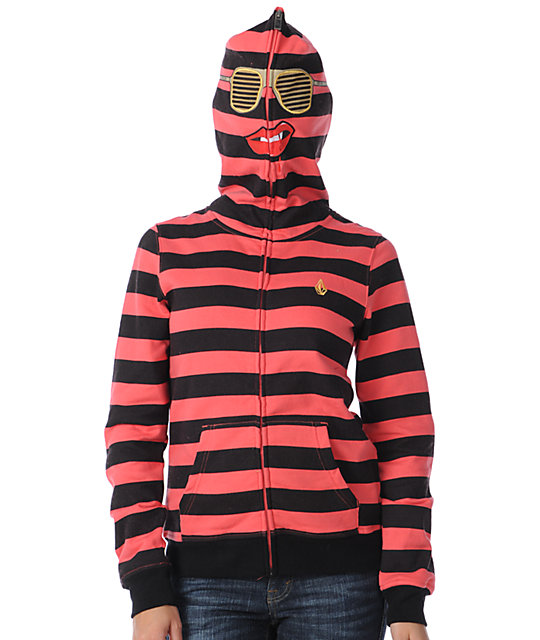 Volcom Vamp Red & Black Face Mask Zip Up Hoodie