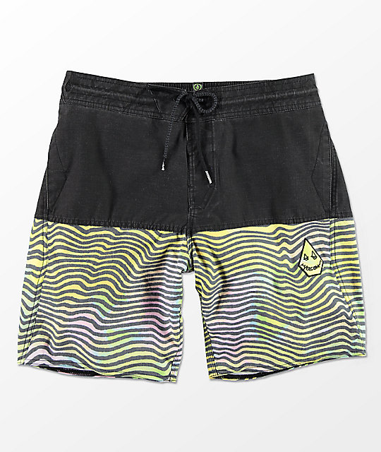 Volcom Vibes Halfstoner Black & Multi-Striped Board Shorts